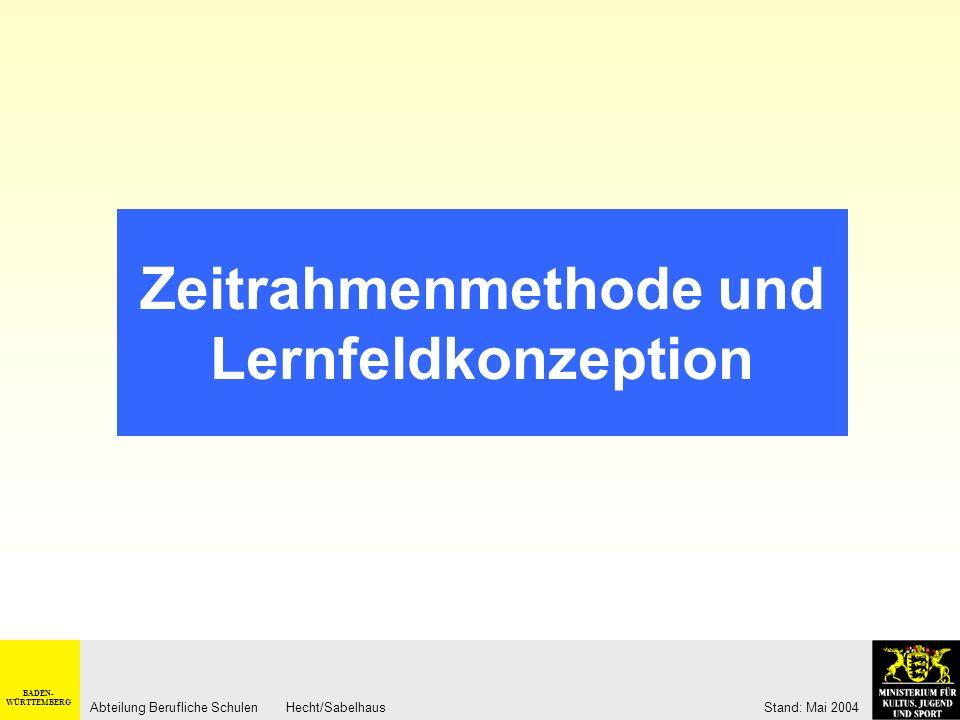 BADEN- WÜRTTEMBERG Abteilung Berufliche Schulen Hecht/Sabelhaus Stand: Mai 2004 Ausgangspunkt der didaktisch- methodischen Gestaltung... soll der Gesc