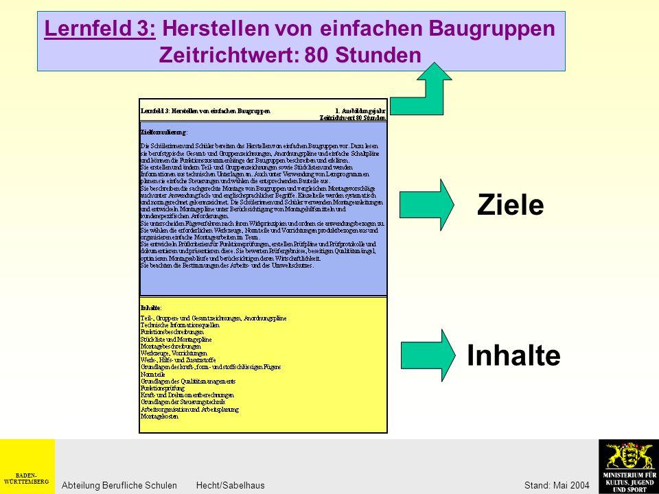 BADEN- WÜRTTEMBERG Abteilung Berufliche Schulen Hecht/Sabelhaus Stand: Mai 2004 Montage/ Demontage von Baugruppen und Systemen Berufliches Handlungsfe