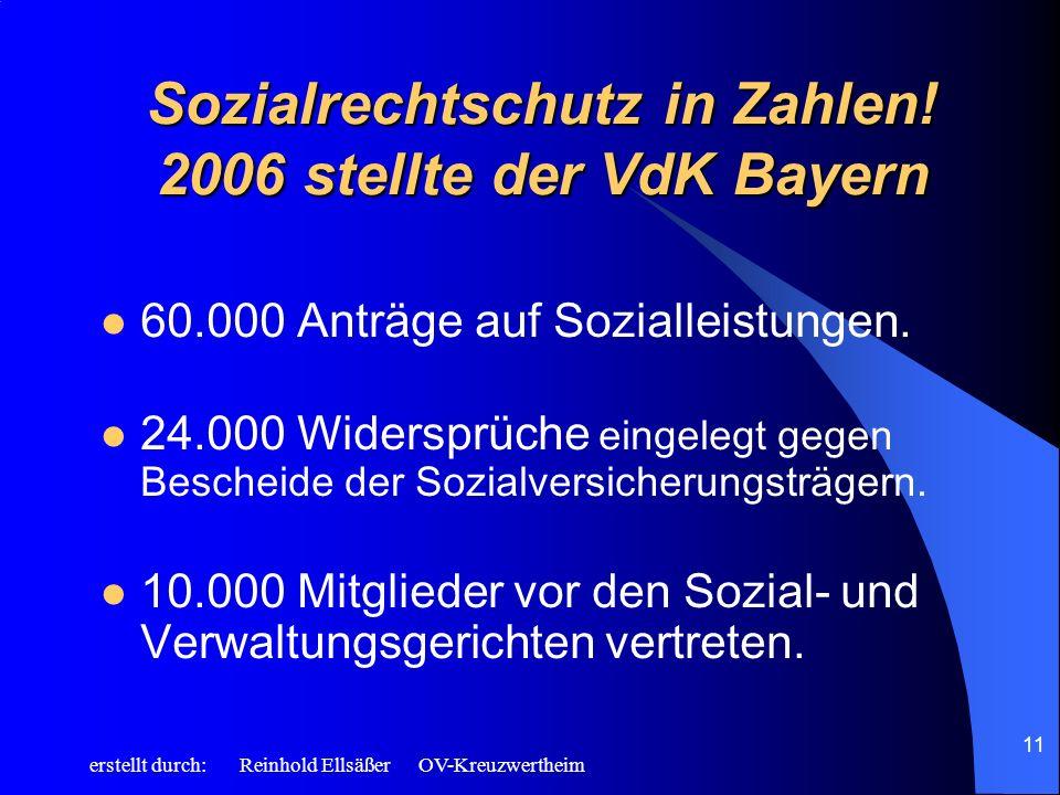 erstellt durch: Reinhold Ellsäßer OV-Kreuzwertheim 11 Sozialrechtschutz in Zahlen! 2006 stellte der VdK Bayern 60.000 Anträge auf Sozialleistungen. 24