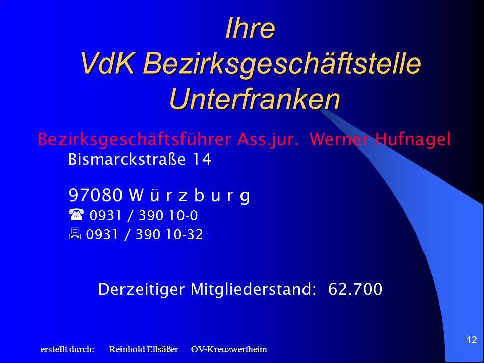 erstellt durch: Reinhold Ellsäßer OV-Kreuzwertheim 12 Ihre VdK Bezirksgeschäftstelle Unterfranken Bezirksgeschäftsführer Ass.jur.Werner Hufnagel Bisma