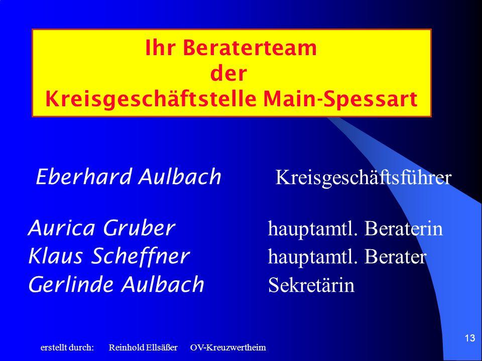 erstellt durch: Reinhold Ellsäßer OV-Kreuzwertheim 13 Eberhard Aulbach Kreisgeschäftsführer Aurica Gruber hauptamtl. Beraterin Klaus Scheffner hauptam