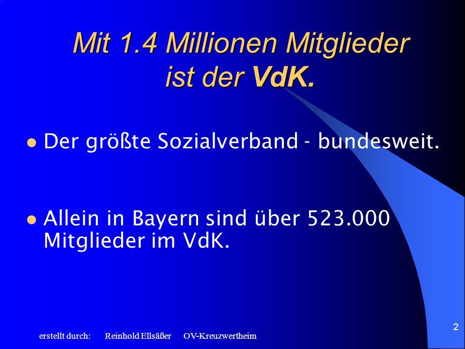 erstellt durch: Reinhold Ellsäßer OV-Kreuzwertheim 2 Mit 1.4 Millionen Mitglieder ist der VdK. Der größte Sozialverband - bundesweit. Allein in Bayern