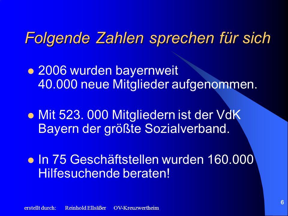 erstellt durch: Reinhold Ellsäßer OV-Kreuzwertheim 6 Folgende Zahlen sprechen für sich 2006 wurden bayernweit 40.000 neue Mitglieder aufgenommen. Mit