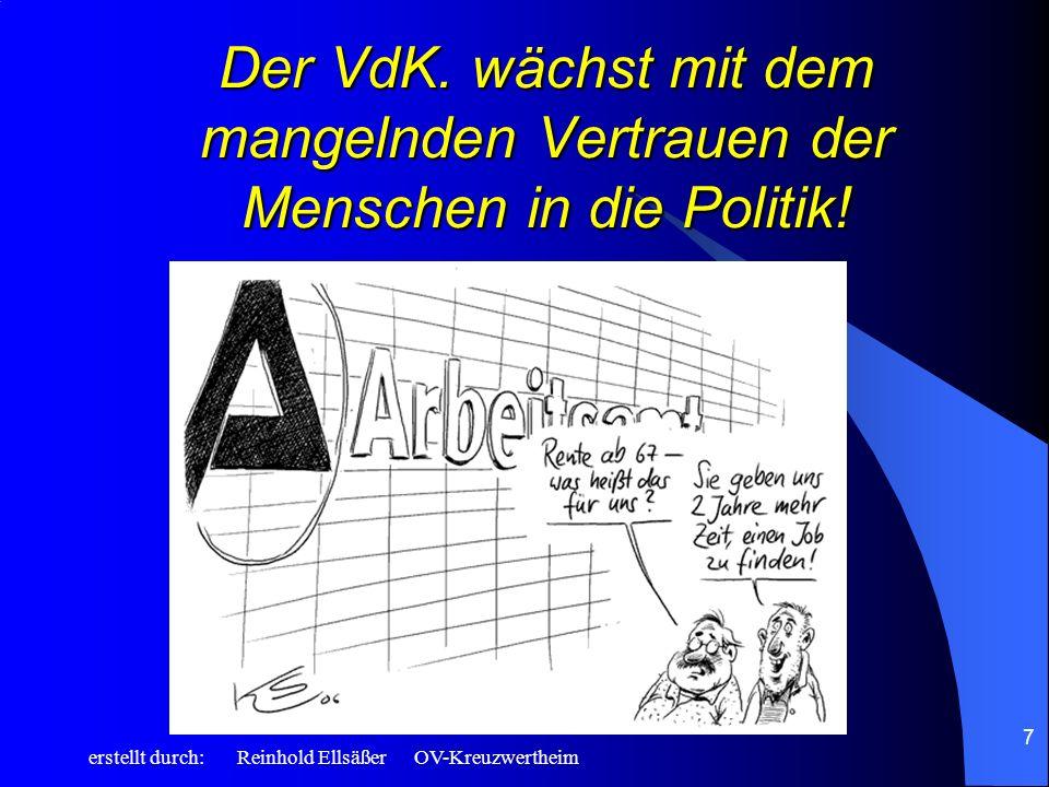 erstellt durch: Reinhold Ellsäßer OV-Kreuzwertheim 7 Der VdK. wächst mit dem mangelnden Vertrauen der Menschen in die Politik!