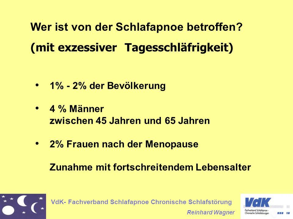 VdK- Fachverband Schlafapnoe Chronische Schlafstörung Reinhard Wagner Wer ist von der Schlafapnoe betroffen? (mit exzessiver Tagesschläfrigkeit) 1% -