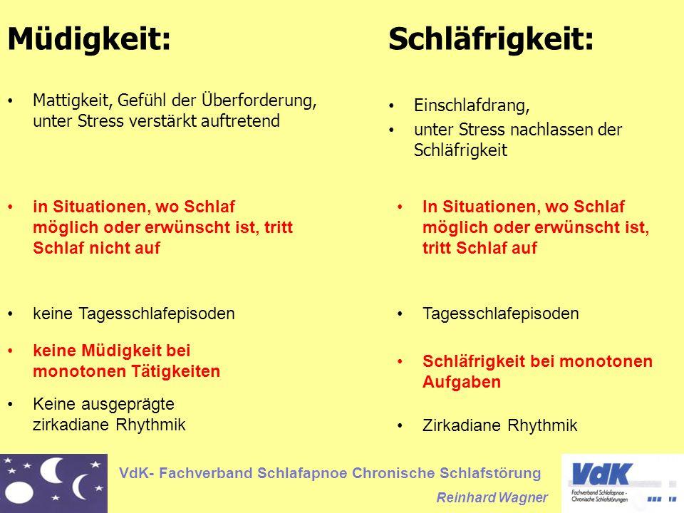 VdK- Fachverband Schlafapnoe Chronische Schlafstörung Reinhard Wagner Müdigkeit: Mattigkeit, Gefühl der Überforderung, unter Stress verstärkt auftrete