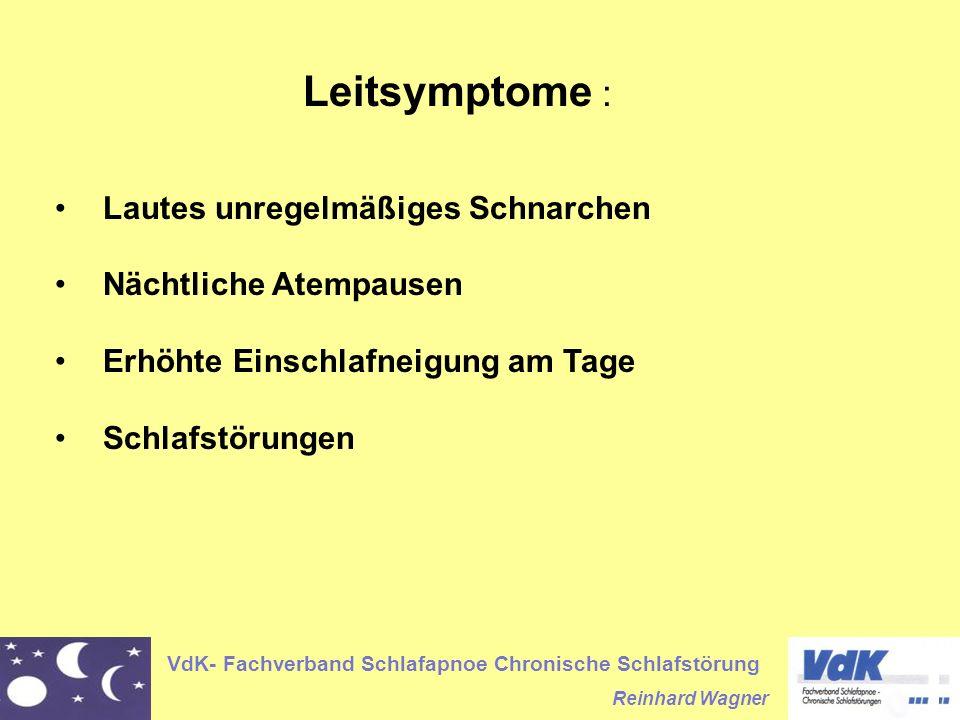 VdK- Fachverband Schlafapnoe Chronische Schlafstörung Reinhard Wagner Leitsymptome : Lautes unregelmäßiges Schnarchen Nächtliche Atempausen Erhöhte Ei