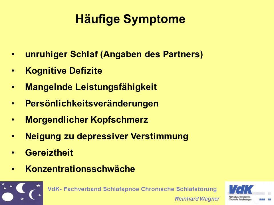 VdK- Fachverband Schlafapnoe Chronische Schlafstörung Reinhard Wagner Häufige Symptome unruhiger Schlaf (Angaben des Partners) Kognitive Defizite Mang