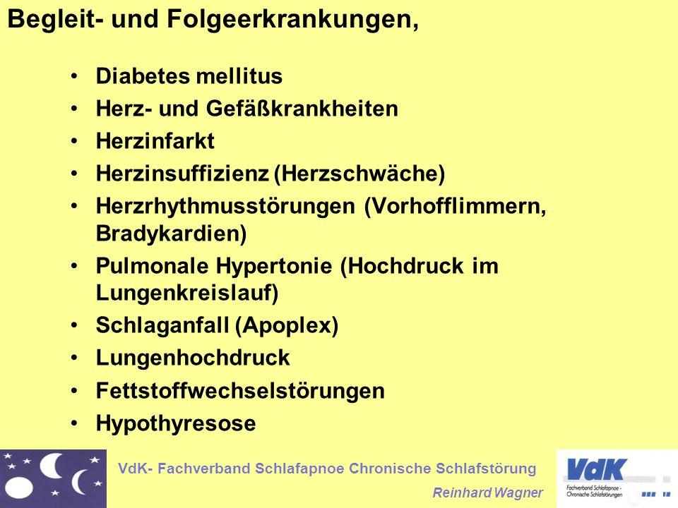 VdK- Fachverband Schlafapnoe Chronische Schlafstörung Reinhard Wagner Begleit- und Folgeerkrankungen, Diabetes mellitus Herz- und Gefäßkrankheiten Her