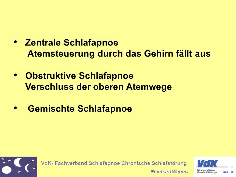 VdK- Fachverband Schlafapnoe Chronische Schlafstörung Reinhard Wagner Zentrale Schlafapnoe Atemsteuerung durch das Gehirn fällt aus Obstruktive Schlaf