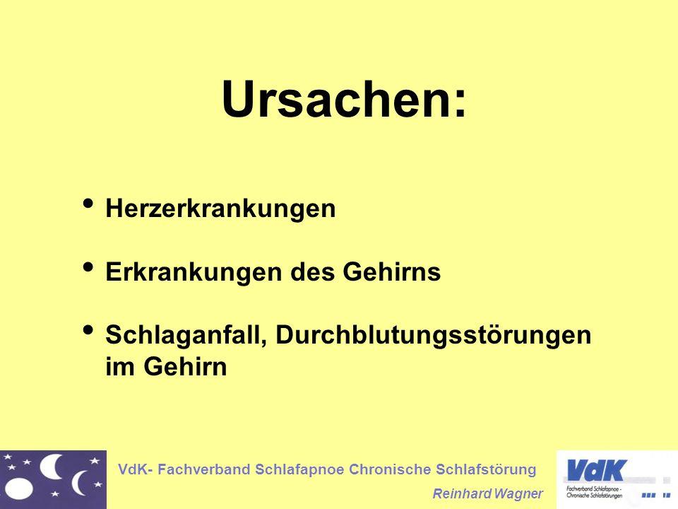 VdK- Fachverband Schlafapnoe Chronische Schlafstörung Reinhard Wagner Ursachen: Herzerkrankungen Erkrankungen des Gehirns Schlaganfall, Durchblutungss