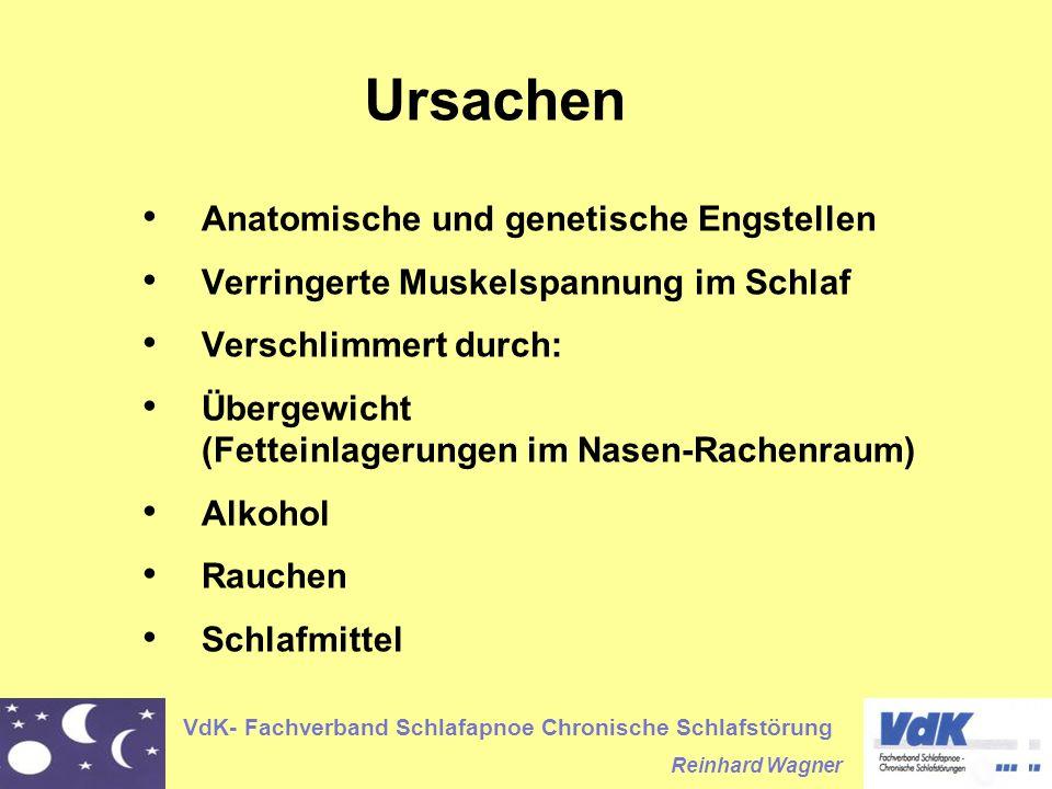 VdK- Fachverband Schlafapnoe Chronische Schlafstörung Reinhard Wagner Anatomische und genetische Engstellen Verringerte Muskelspannung im Schlaf Versc