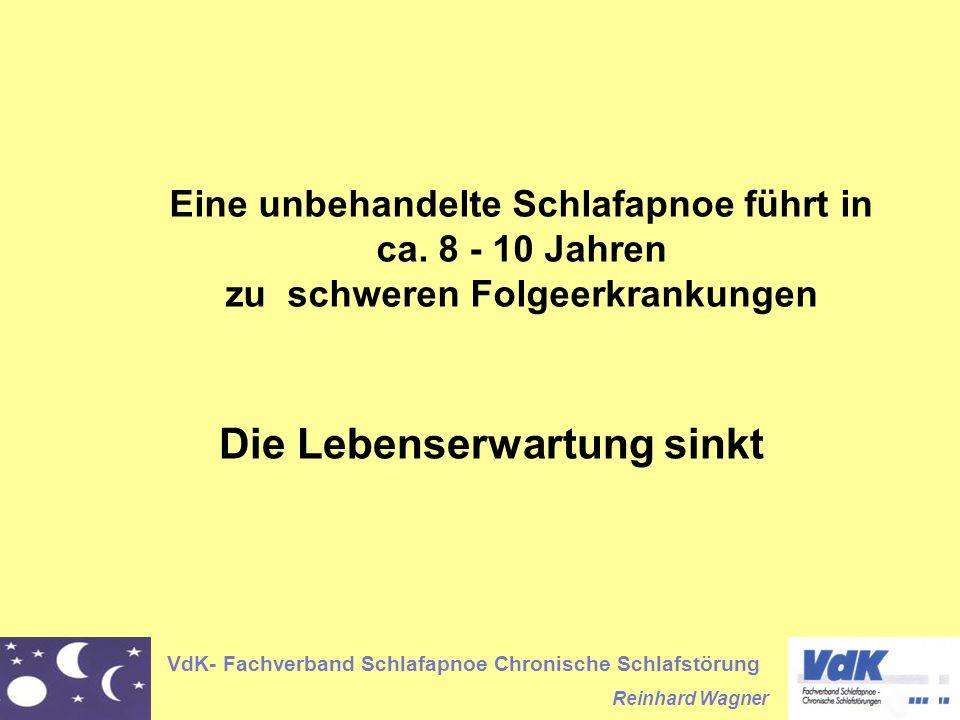 VdK- Fachverband Schlafapnoe Chronische Schlafstörung Reinhard Wagner Eine unbehandelte Schlafapnoe führt in ca. 8 - 10 Jahren zu schweren Folgeerkran