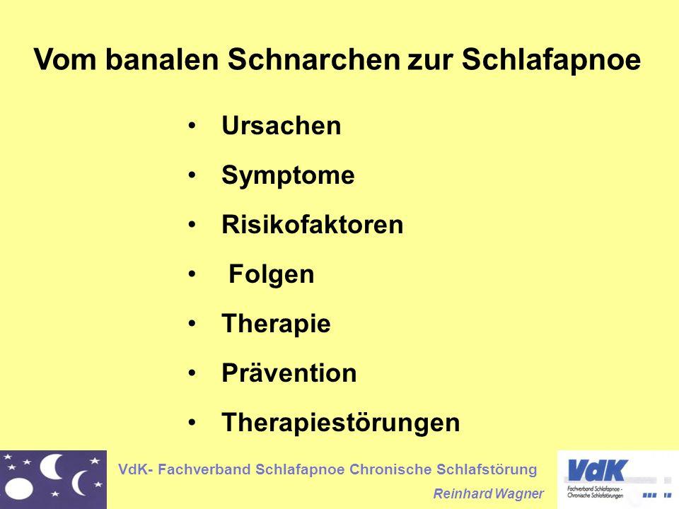 VdK- Fachverband Schlafapnoe Chronische Schlafstörung Reinhard Wagner Vom banalen Schnarchen zur Schlafapnoe Ursachen Symptome Risikofaktoren Folgen T