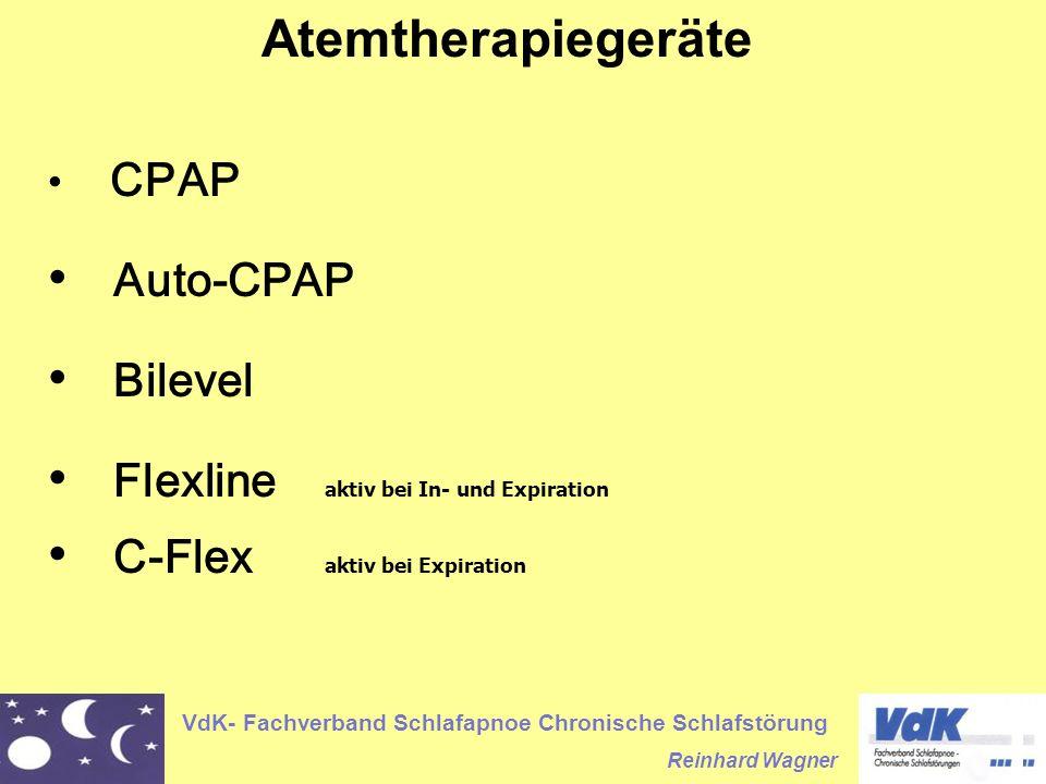 VdK- Fachverband Schlafapnoe Chronische Schlafstörung Reinhard Wagner Atemtherapiegeräte CPAP Auto-CPAP Bilevel Flexline aktiv bei In- und Expiration