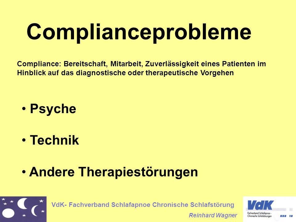 VdK- Fachverband Schlafapnoe Chronische Schlafstörung Reinhard Wagner Complianceprobleme Psyche Technik Andere Therapiestörungen Compliance: Bereitsch