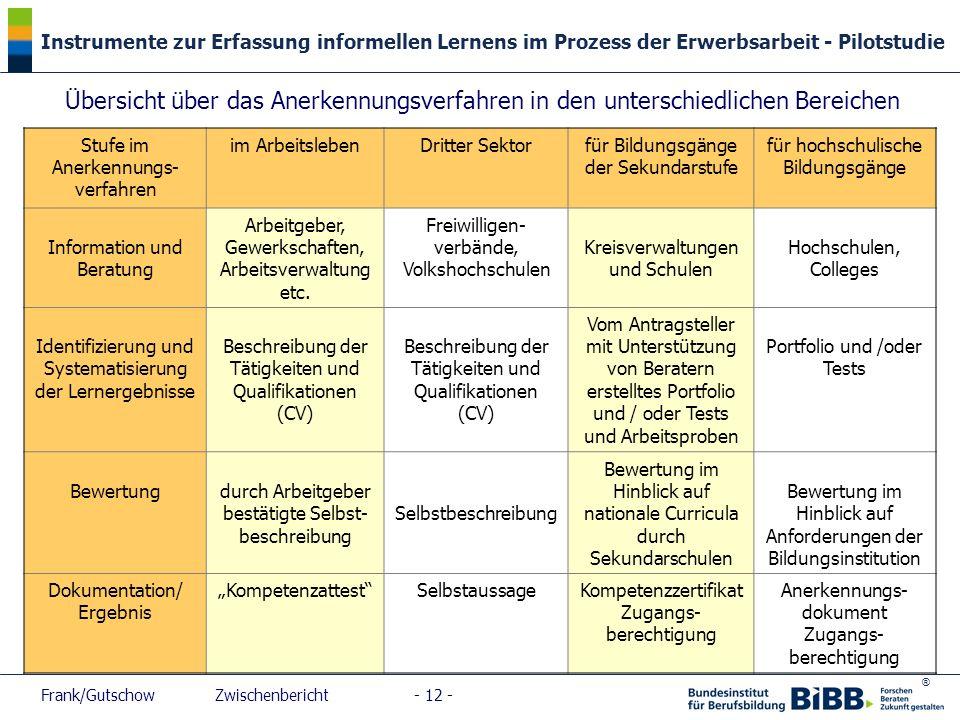 ® Instrumente zur Erfassung informellen Lernens im Prozess der Erwerbsarbeit - Pilotstudie Frank/Gutschow Zwischenbericht - 12 - Stufe im Anerkennungs