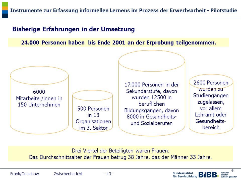 ® Instrumente zur Erfassung informellen Lernens im Prozess der Erwerbsarbeit - Pilotstudie Frank/Gutschow Zwischenbericht - 13 - Bisherige Erfahrungen