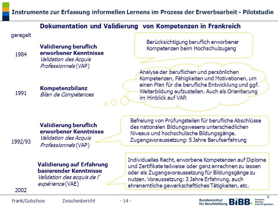 ® Instrumente zur Erfassung informellen Lernens im Prozess der Erwerbsarbeit - Pilotstudie Frank/Gutschow Zwischenbericht - 14 - geregelt 1984 1991 19