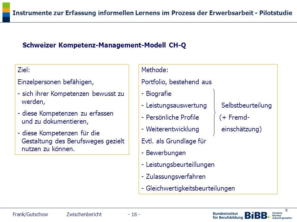 ® Instrumente zur Erfassung informellen Lernens im Prozess der Erwerbsarbeit - Pilotstudie Frank/Gutschow Zwischenbericht - 16 - Schweizer Kompetenz-M