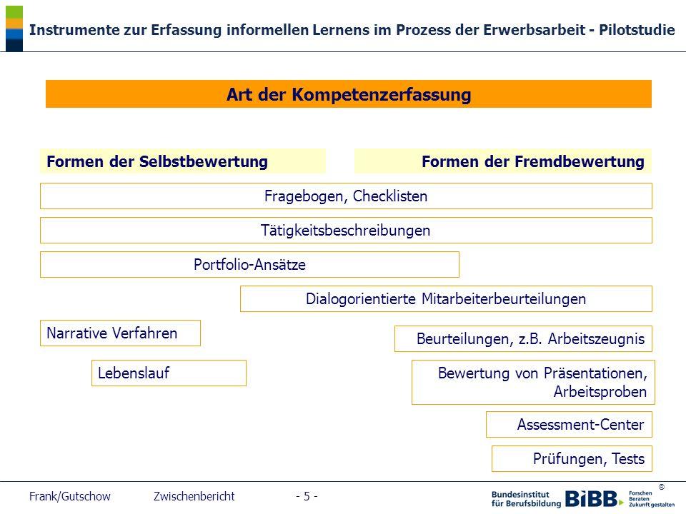 ® Instrumente zur Erfassung informellen Lernens im Prozess der Erwerbsarbeit - Pilotstudie Frank/Gutschow Zwischenbericht - 5 - Art der Kompetenzerfas