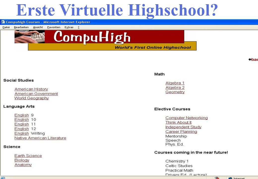 Erste Virtuelle Highschool?