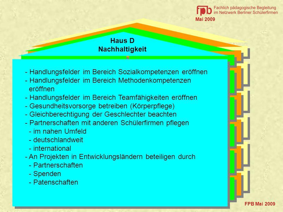 Ökologie Ökonomie Haus D Nachhaltigkeit Mittel, Methoden Standards Soziales FPB Mai 2009 - Handlungsfelder im Bereich Sozialkompetenzen eröffnen - Han