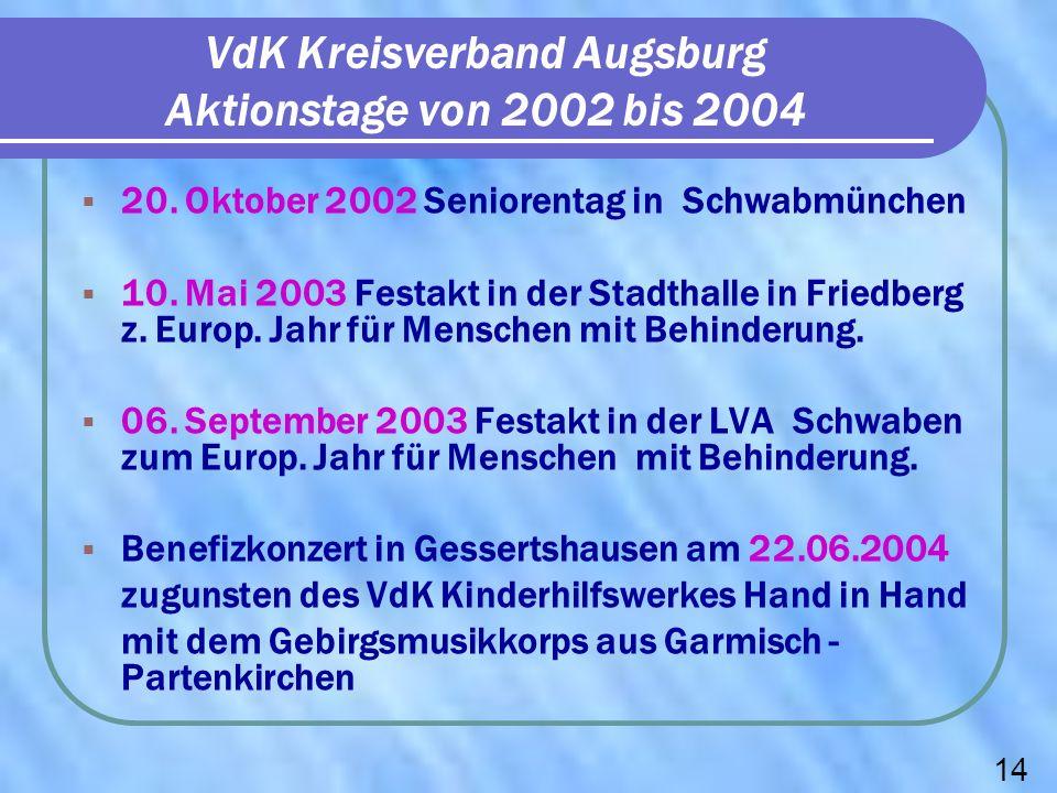 VdK Kreisverband Augsburg Aktionstage von 2002 bis 2004 20. Oktober 2002 Seniorentag in Schwabmünchen 10. Mai 2003 Festakt in der Stadthalle in Friedb