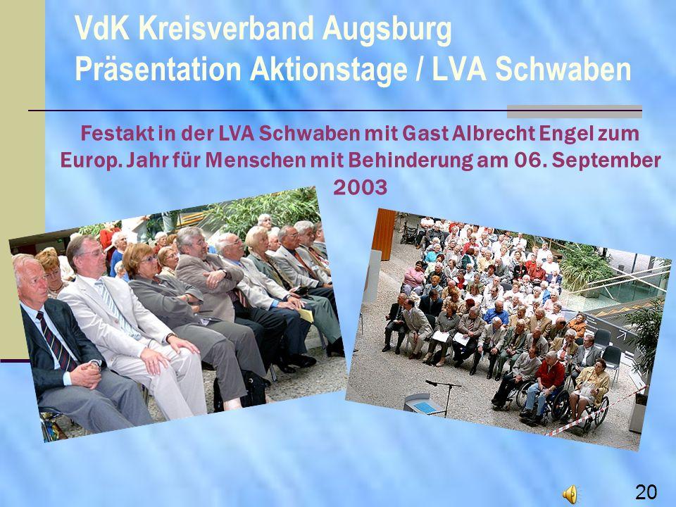 Festakt in der LVA Schwaben mit Gast Albrecht Engel zum Europ. Jahr für Menschen mit Behinderung am 06. September 2003 VdK Kreisverband Augsburg Präse