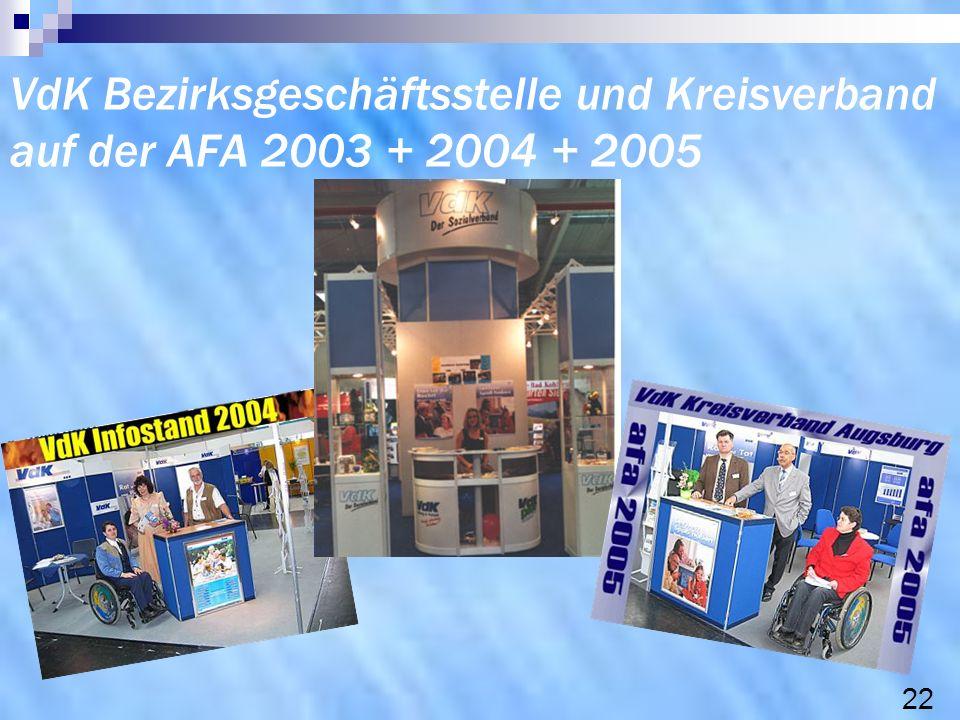 VdK Bezirksgeschäftsstelle und Kreisverband auf der AFA 2003 + 2004 + 2005 22