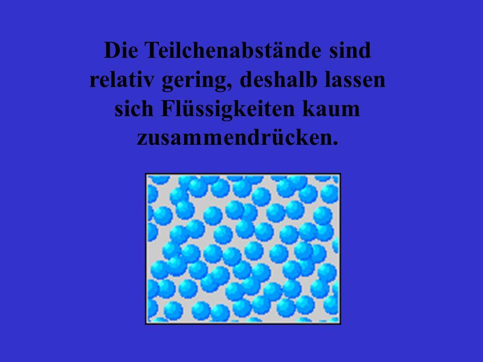 Die Teilchenabstände sind relativ gering, deshalb lassen sich Flüssigkeiten kaum zusammendrücken.