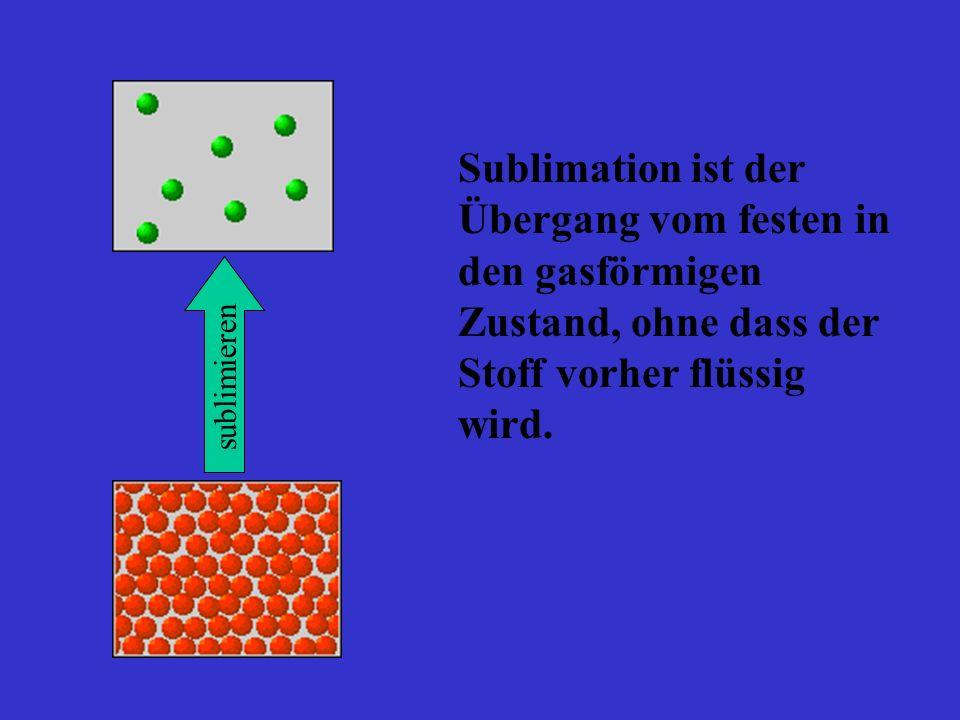 Sublimation ist der Übergang vom festen in den gasförmigen Zustand, ohne dass der Stoff vorher flüssig wird. sublimieren