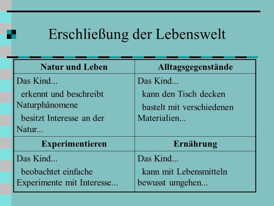 Erschließung der Lebenswelt Natur und LebenAlltagsgegenstände Das Kind... erkennt und beschreibt Naturphänomene besitzt Interesse an der Natur... Das