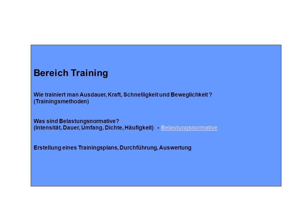 Bereich Training Wie trainiert man Ausdauer, Kraft, Schnelligkeit und Beweglichkeit ? (Trainingsmethoden) Was sind Belastungsnormative? (Intensität, D