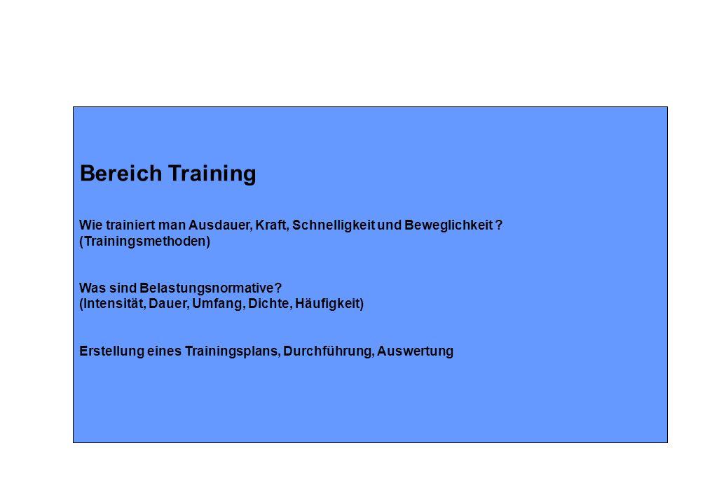 Bereich Training Wie trainiert man Ausdauer, Kraft, Schnelligkeit und Beweglichkeit .