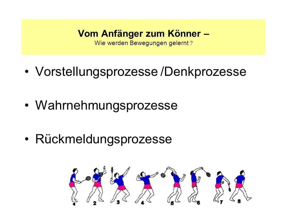 Vorstellungsprozesse /Denkprozesse Wahrnehmungsprozesse Rückmeldungsprozesse Vom Anfänger zum Könner – Wie werden Bewegungen gelernt ?