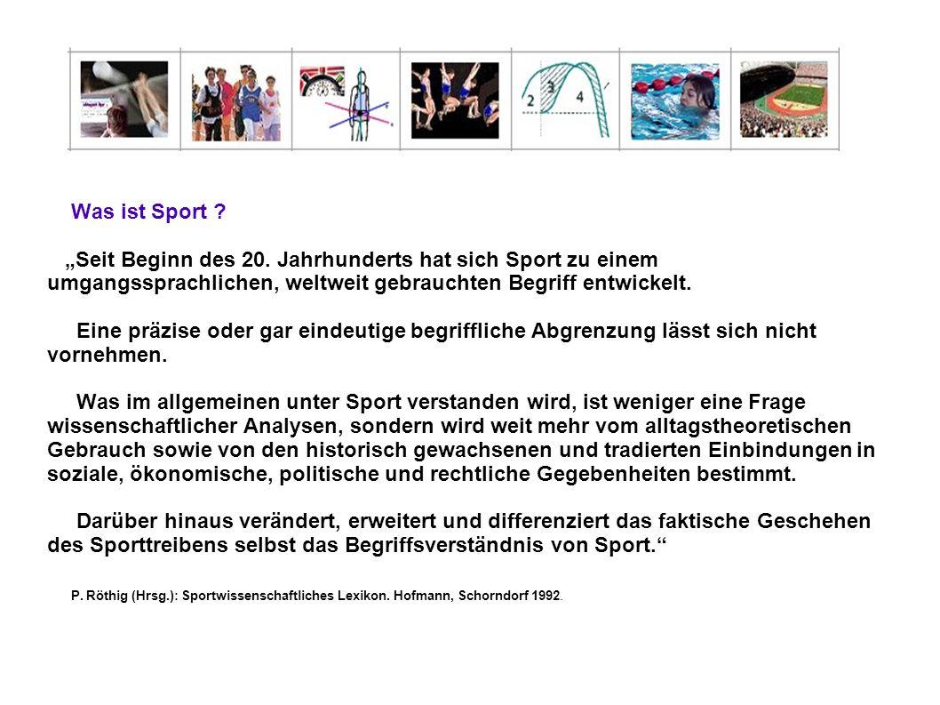 Und noch viel mehr Was ist Sport ? Seit Beginn des 20. Jahrhunderts hat sich Sport zu einem umgangssprachlichen, weltweit gebrauchten Begriff entwicke