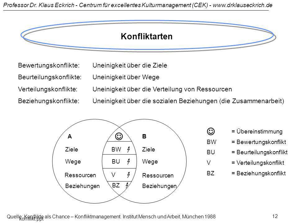 Professor Dr. Klaus Eckrich - Centrum für excellentes Kulturmanagement (CEK) - www.drklauseckrich.de konflikt.ppt 12 Konfliktarten Bewertungskonflikte