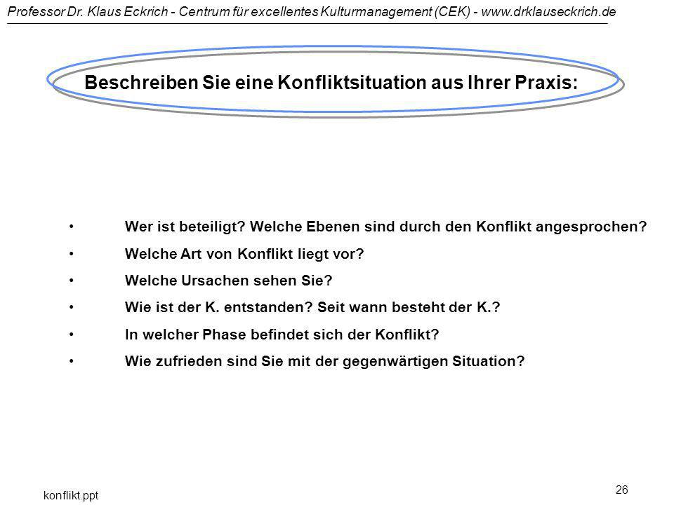 Professor Dr. Klaus Eckrich - Centrum für excellentes Kulturmanagement (CEK) - www.drklauseckrich.de konflikt.ppt 26 Beschreiben Sie eine Konfliktsitu