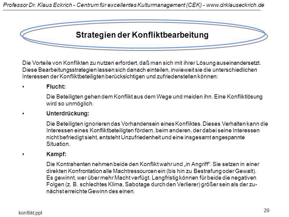 Professor Dr. Klaus Eckrich - Centrum für excellentes Kulturmanagement (CEK) - www.drklauseckrich.de konflikt.ppt 29 Strategien der Konfliktbearbeitun
