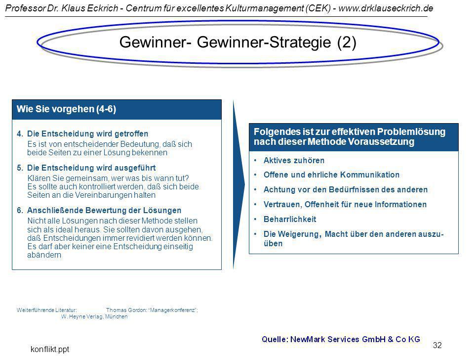 Professor Dr. Klaus Eckrich - Centrum für excellentes Kulturmanagement (CEK) - www.drklauseckrich.de konflikt.ppt 32 Wie Sie vorgehen (4-6): Gewinner-
