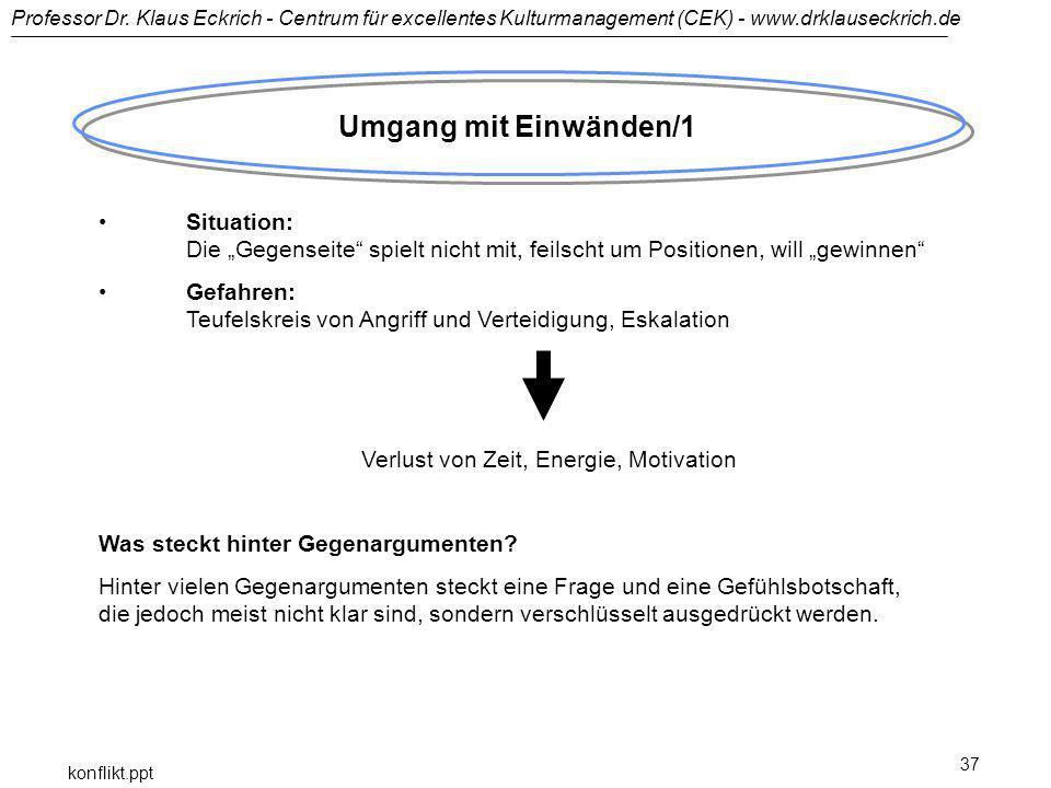 Professor Dr. Klaus Eckrich - Centrum für excellentes Kulturmanagement (CEK) - www.drklauseckrich.de konflikt.ppt 37 Umgang mit Einwänden/1 Situation: