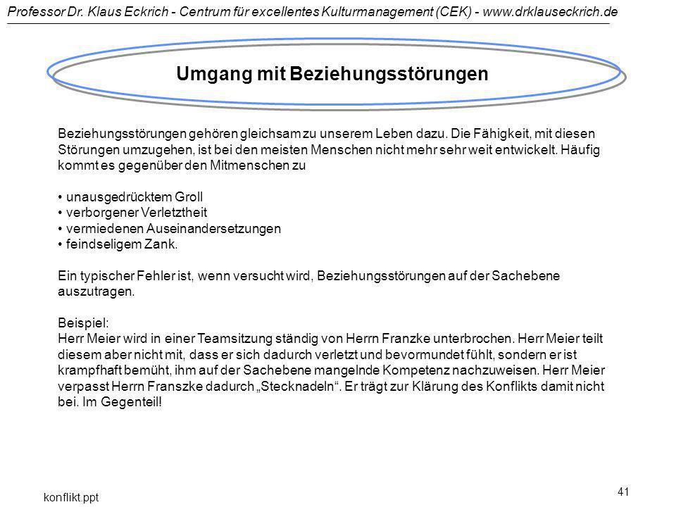 Professor Dr. Klaus Eckrich - Centrum für excellentes Kulturmanagement (CEK) - www.drklauseckrich.de konflikt.ppt 41 Umgang mit Beziehungsstörungen Be
