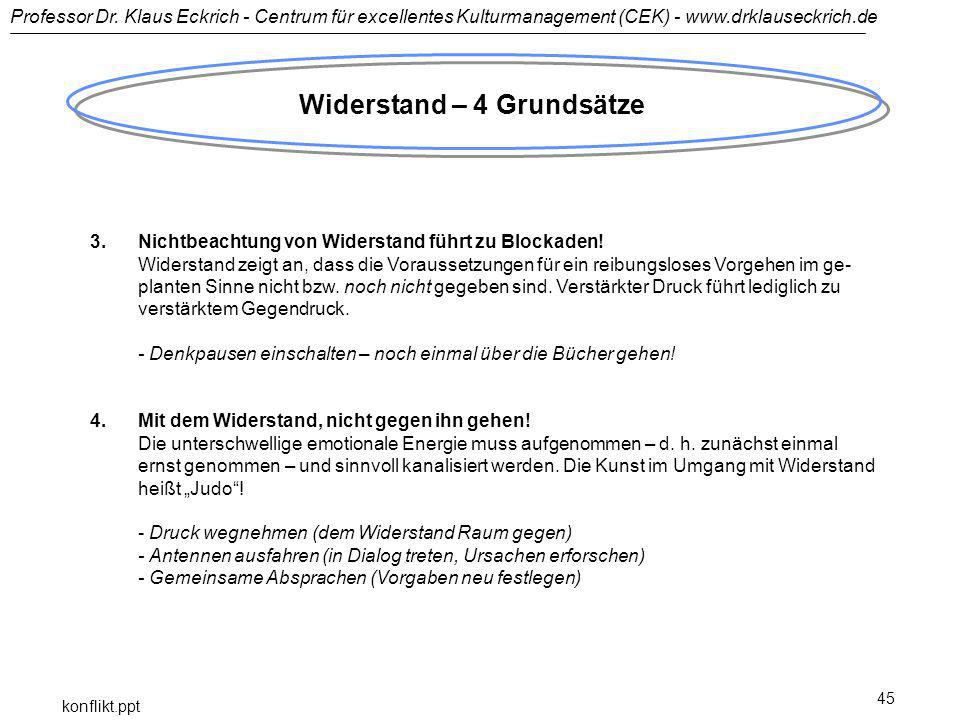 Professor Dr. Klaus Eckrich - Centrum für excellentes Kulturmanagement (CEK) - www.drklauseckrich.de konflikt.ppt 45 Widerstand – 4 Grundsätze 3.Nicht