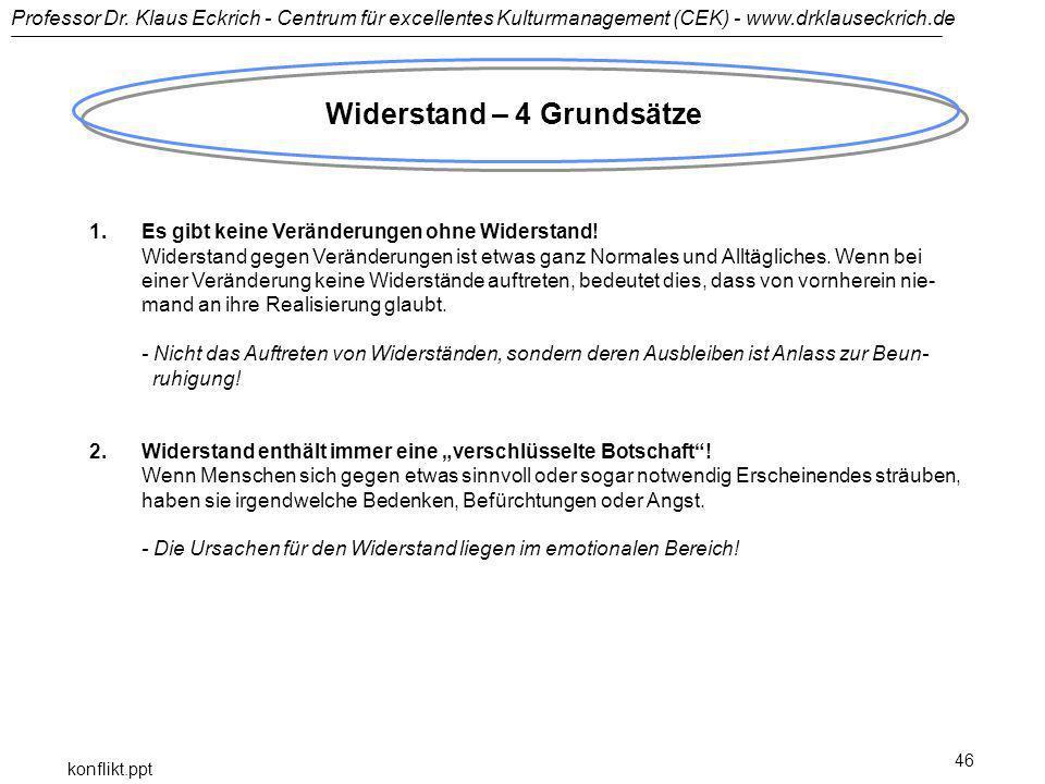 Professor Dr. Klaus Eckrich - Centrum für excellentes Kulturmanagement (CEK) - www.drklauseckrich.de konflikt.ppt 46 Widerstand – 4 Grundsätze 1.Es gi