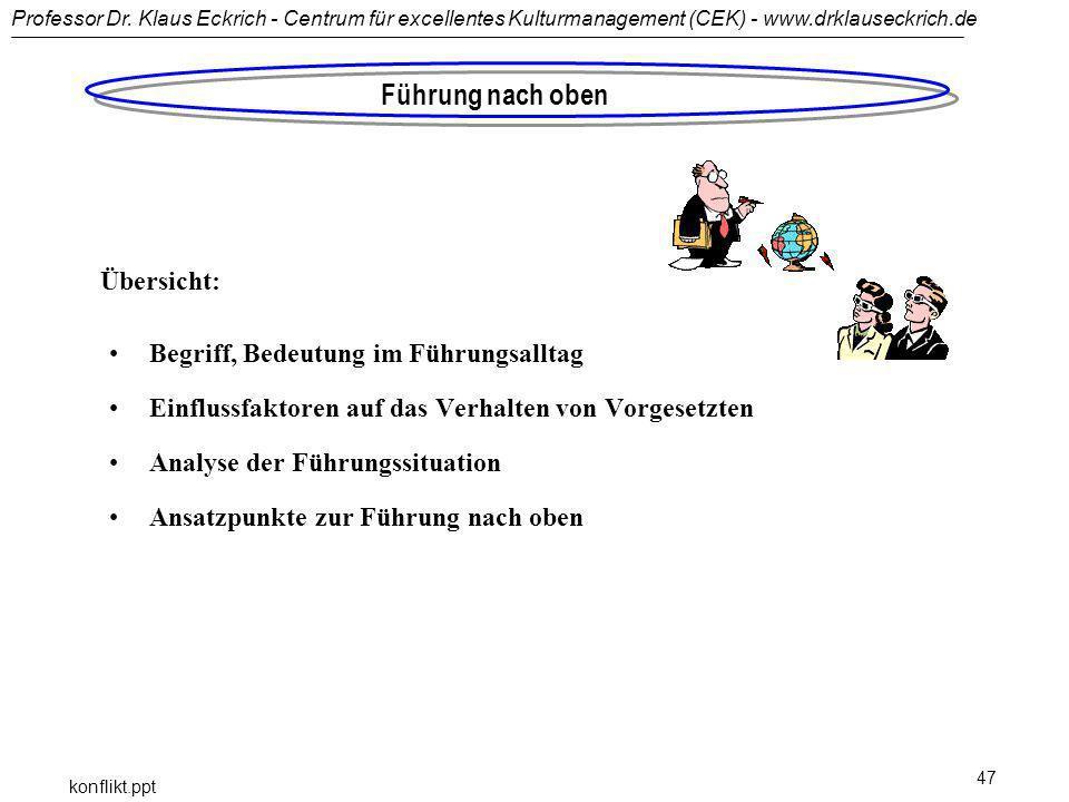 Professor Dr. Klaus Eckrich - Centrum für excellentes Kulturmanagement (CEK) - www.drklauseckrich.de konflikt.ppt 47 Führung nach oben Begriff, Bedeut