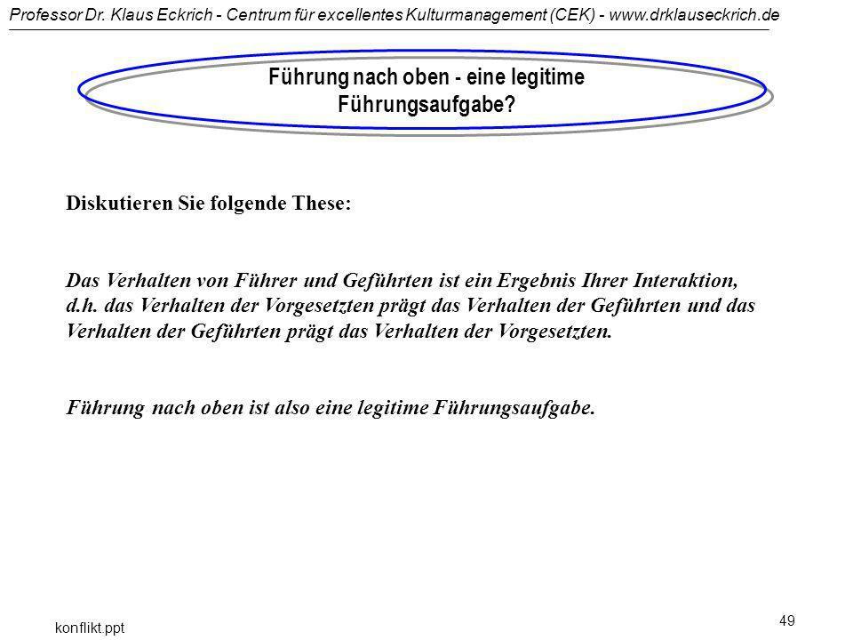 Professor Dr. Klaus Eckrich - Centrum für excellentes Kulturmanagement (CEK) - www.drklauseckrich.de konflikt.ppt 49 Führung nach oben - eine legitime