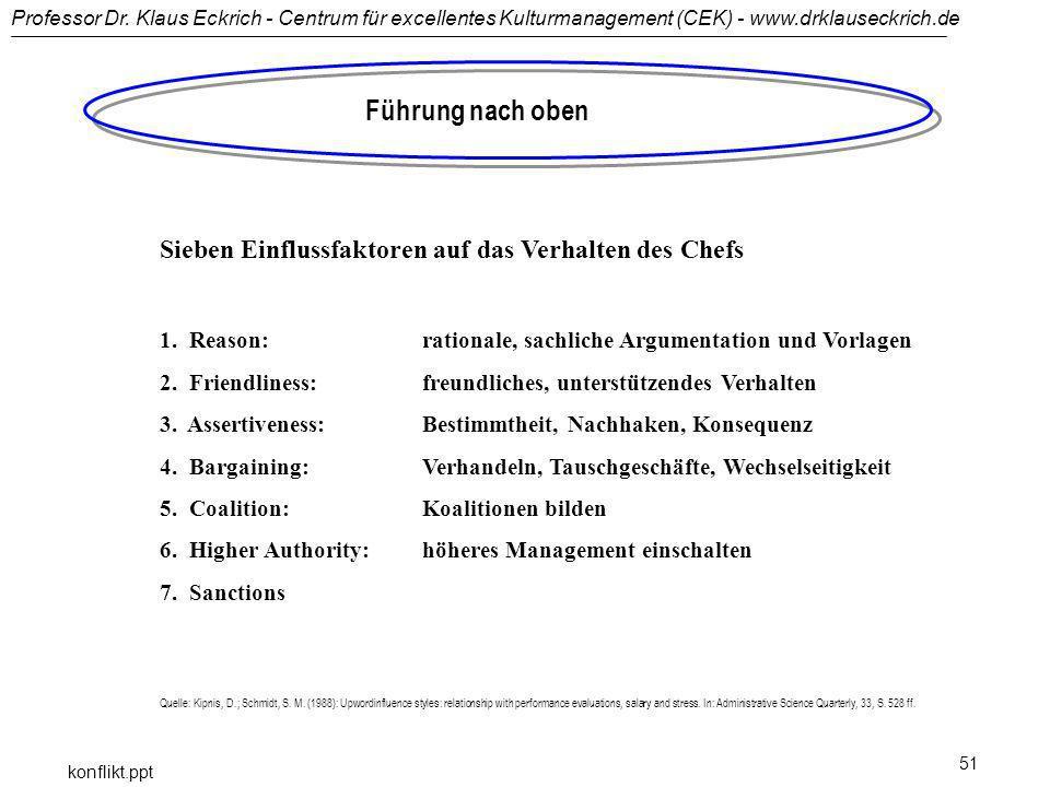 Professor Dr. Klaus Eckrich - Centrum für excellentes Kulturmanagement (CEK) - www.drklauseckrich.de konflikt.ppt 51 Führung nach oben Sieben Einfluss