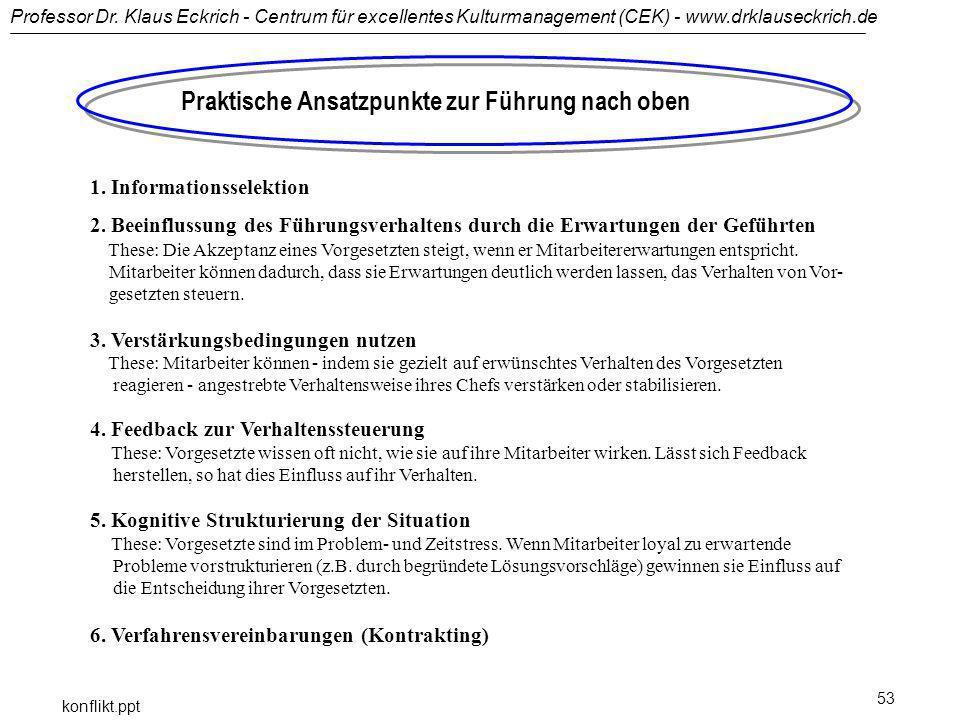 Professor Dr. Klaus Eckrich - Centrum für excellentes Kulturmanagement (CEK) - www.drklauseckrich.de konflikt.ppt 53 Praktische Ansatzpunkte zur Führu