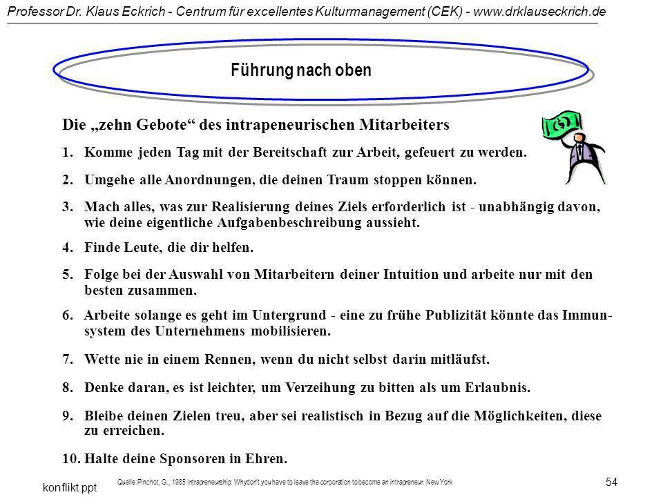 Professor Dr. Klaus Eckrich - Centrum für excellentes Kulturmanagement (CEK) - www.drklauseckrich.de konflikt.ppt 54 Führung nach oben Die zehn Gebote